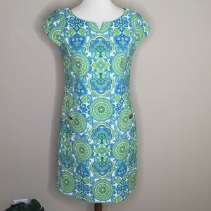 Maggy L  Blue Green Retro Style Shift Dress Sz 4